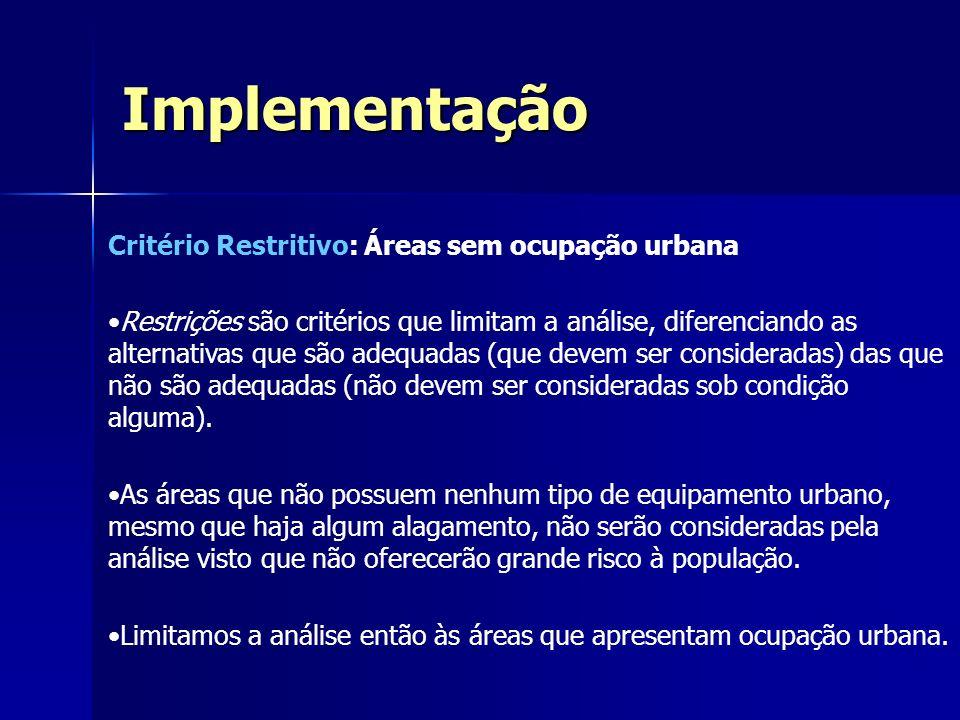 Implementação Critério Restritivo: Áreas sem ocupação urbana