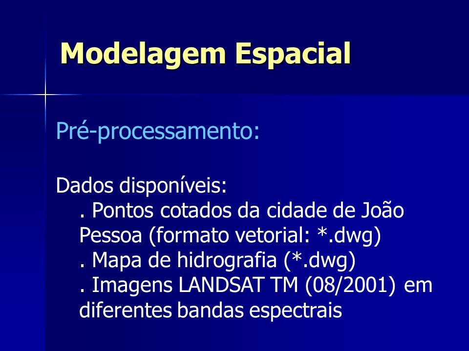 Modelagem Espacial Pré-processamento: Dados disponíveis: