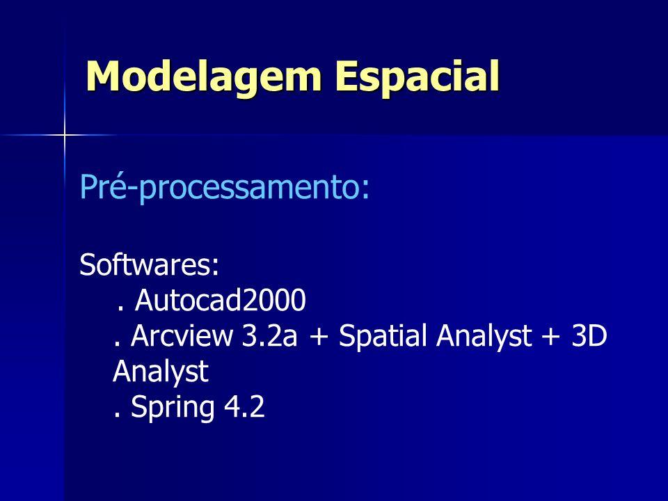 Modelagem Espacial Pré-processamento: Softwares: . Autocad2000