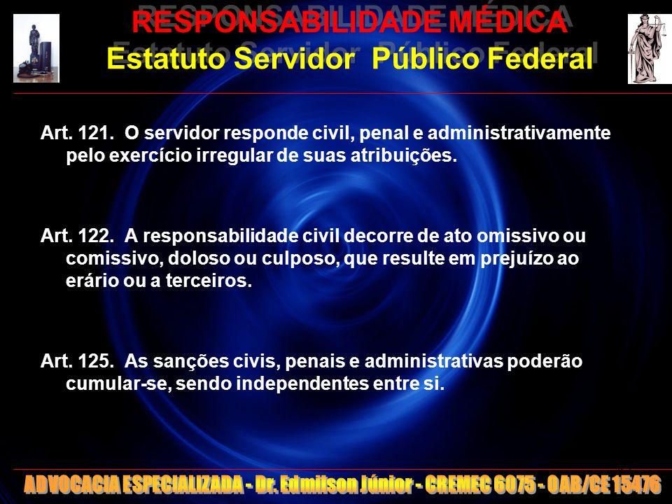 RESPONSABILIDADE MÉDICA Estatuto Servidor Público Federal