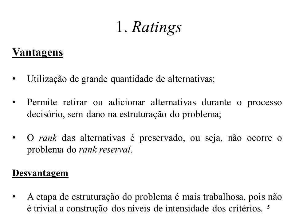 1. Ratings Vantagens Utilização de grande quantidade de alternativas;