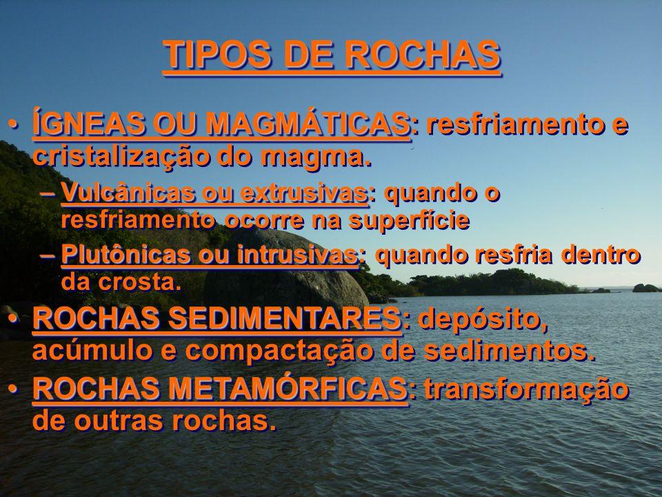TIPOS DE ROCHAS ÍGNEAS OU MAGMÁTICAS: resfriamento e cristalização do magma. Vulcânicas ou extrusivas: quando o resfriamento ocorre na superfície.