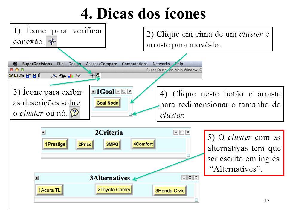 4. Dicas dos ícones 1) Ícone para verificar conexão.