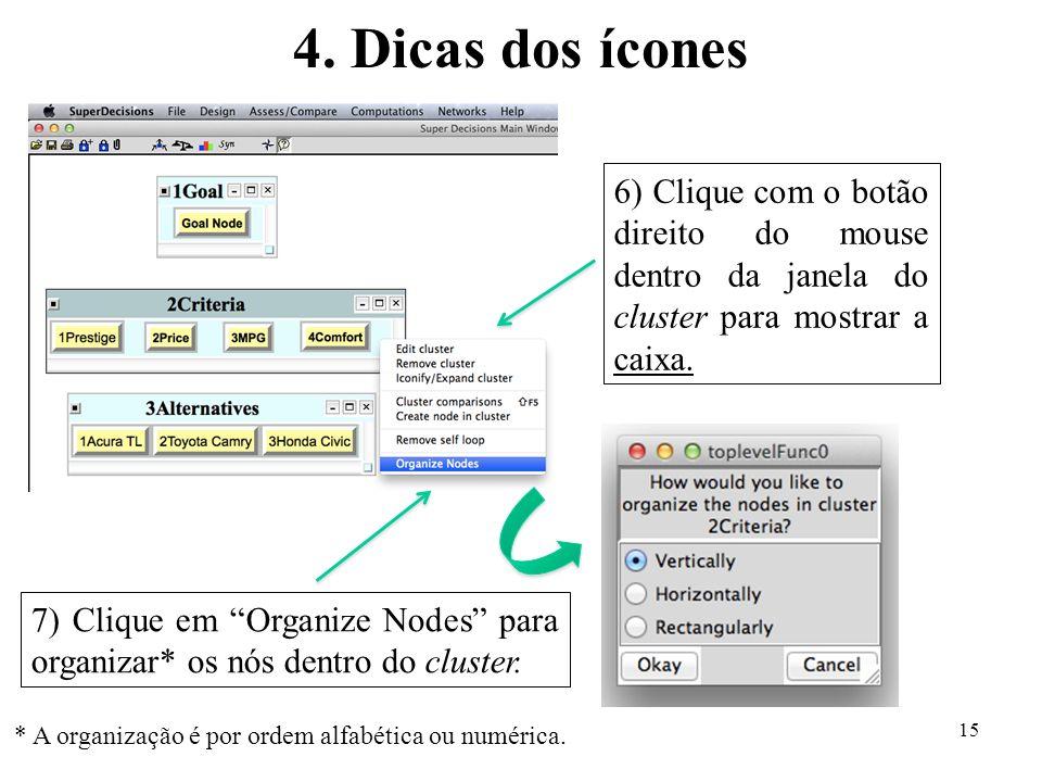 4. Dicas dos ícones 6) Clique com o botão direito do mouse dentro da janela do cluster para mostrar a caixa.