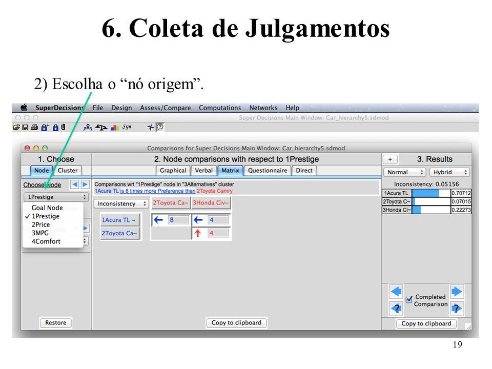 6. Coleta de Julgamentos 2) Escolha o nó origem .