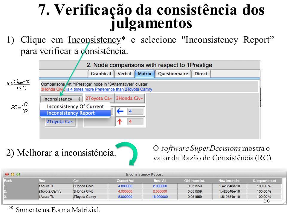 7. Verificação da consistência dos julgamentos