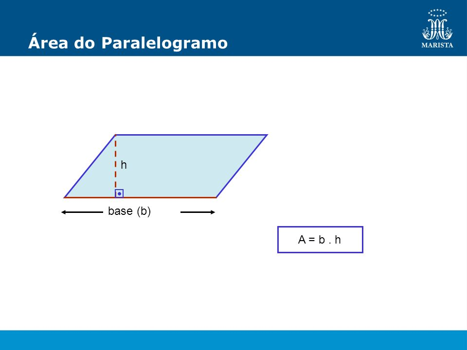Área do Paralelogramo h base (b) A = b . h