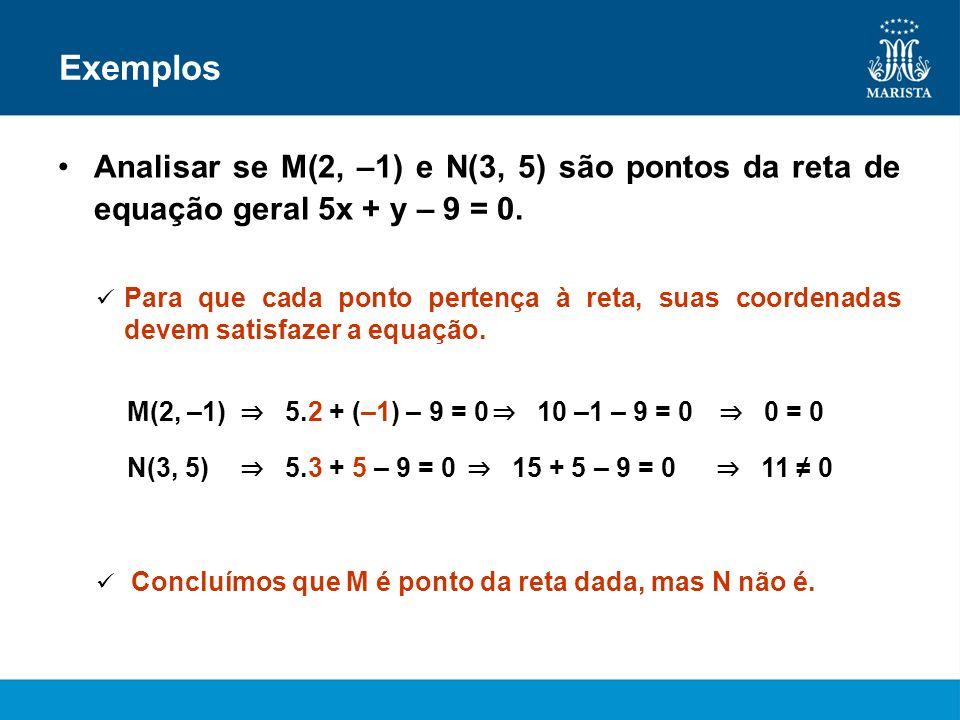 ExemplosAnalisar se M(2, –1) e N(3, 5) são pontos da reta de equação geral 5x + y – 9 = 0.