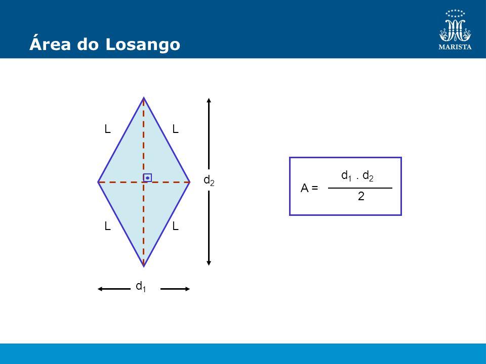 Área do Losango L L A = d1 . d2 2 d2 L L d1