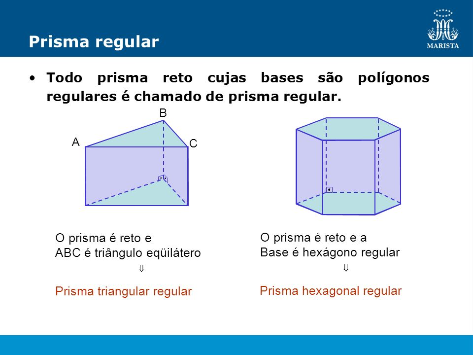 Prisma regularTodo prisma reto cujas bases são polígonos regulares é chamado de prisma regular. A. B.