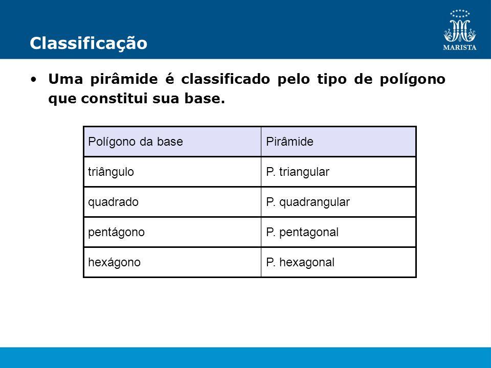 Classificação Uma pirâmide é classificado pelo tipo de polígono que constitui sua base. Polígono da base.