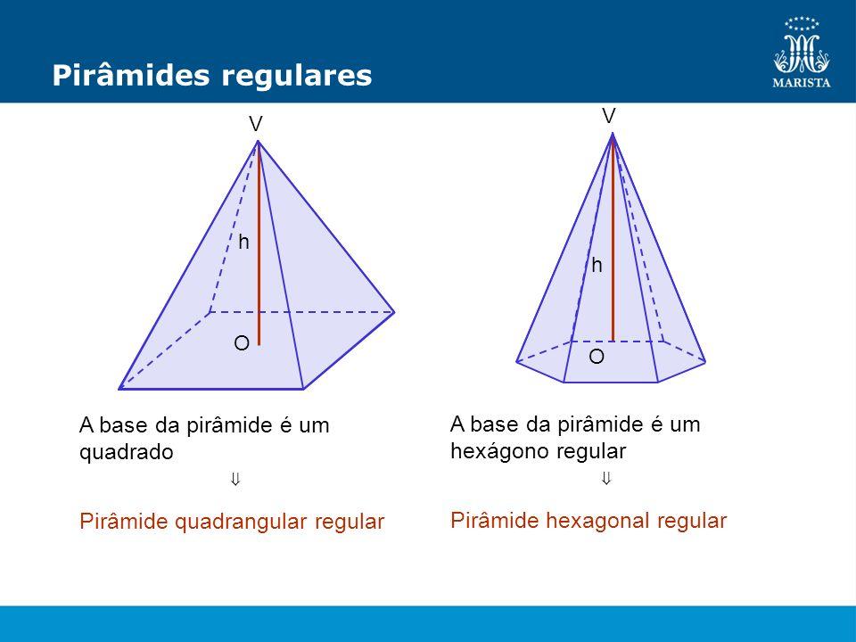 Pirâmides regulares A base da pirâmide é um quadrado