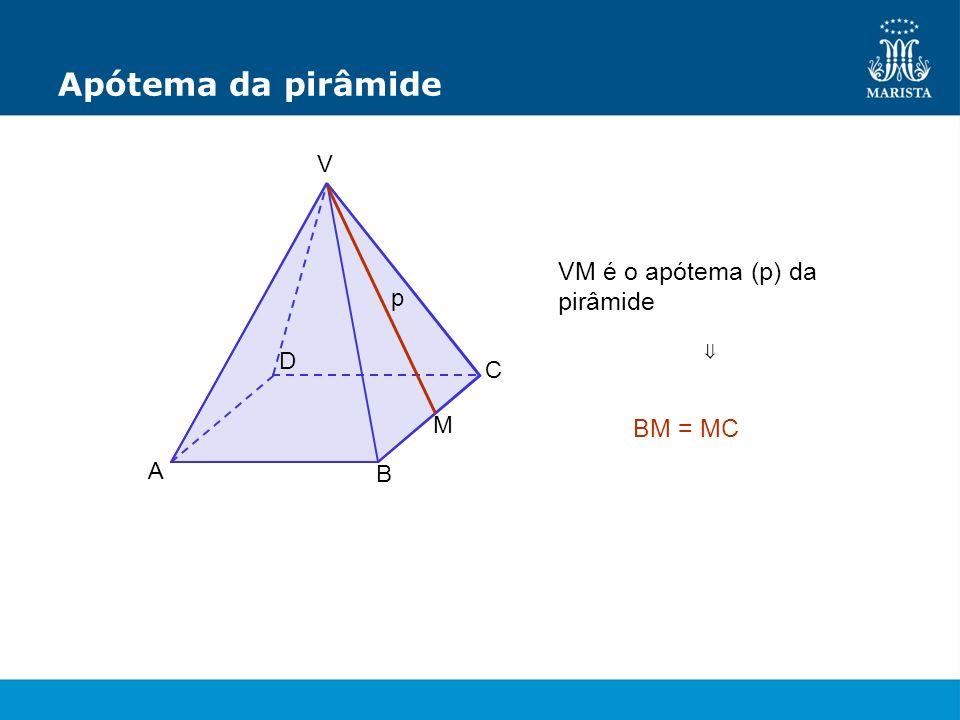 Apótema da pirâmide VM é o apótema (p) da pirâmide BM = MC V p D ⇒ C M