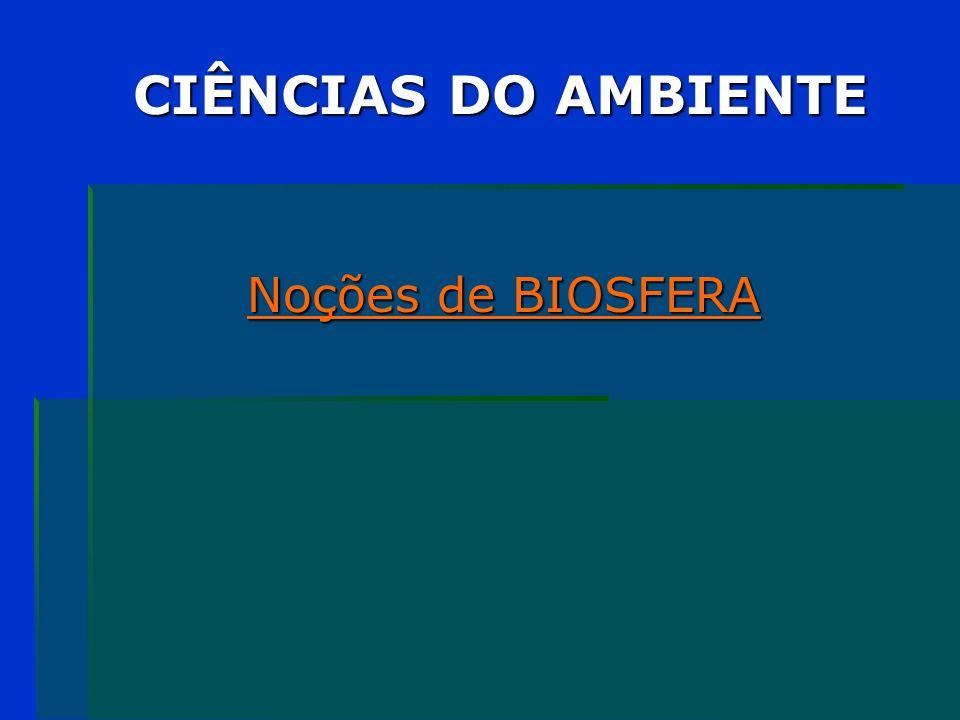 CIÊNCIAS DO AMBIENTE Noções de BIOSFERA