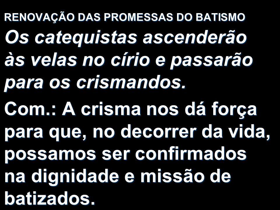 RENOVAÇÃO DAS PROMESSAS DO BATISMO Os catequistas ascenderão às velas no círio e passarão para os crismandos.