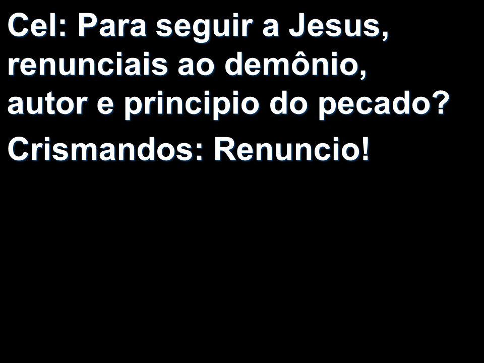 Cel: Para seguir a Jesus, renunciais ao demônio, autor e principio do pecado