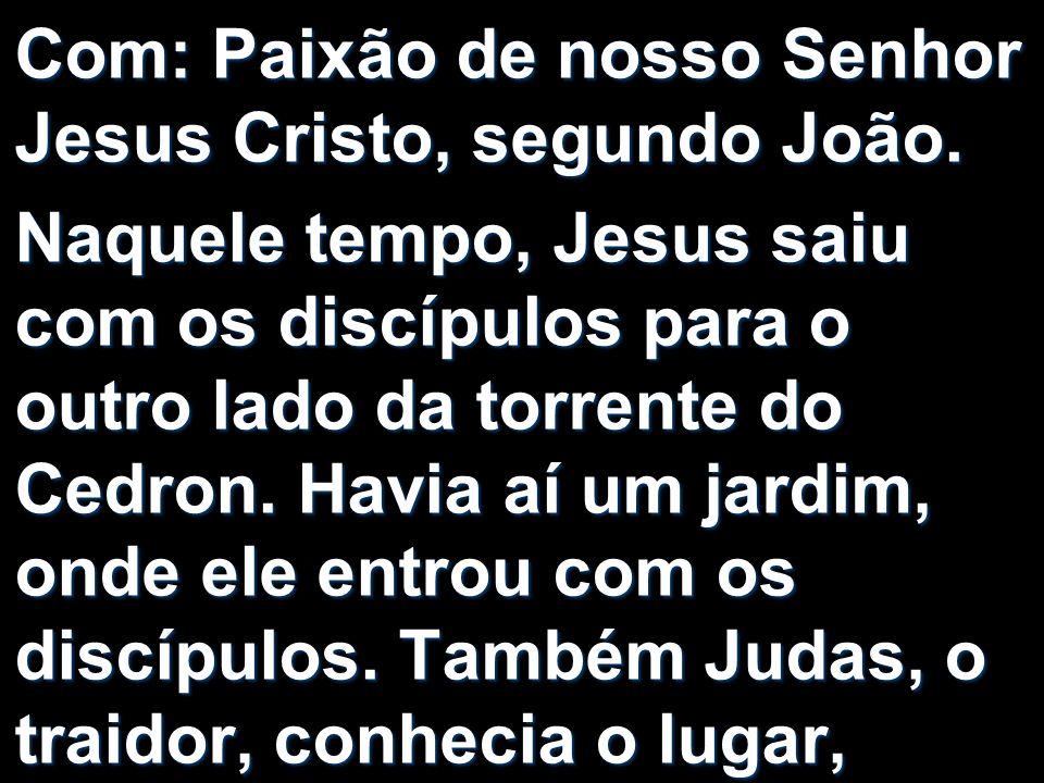 Com: Paixão de nosso Senhor Jesus Cristo, segundo João.