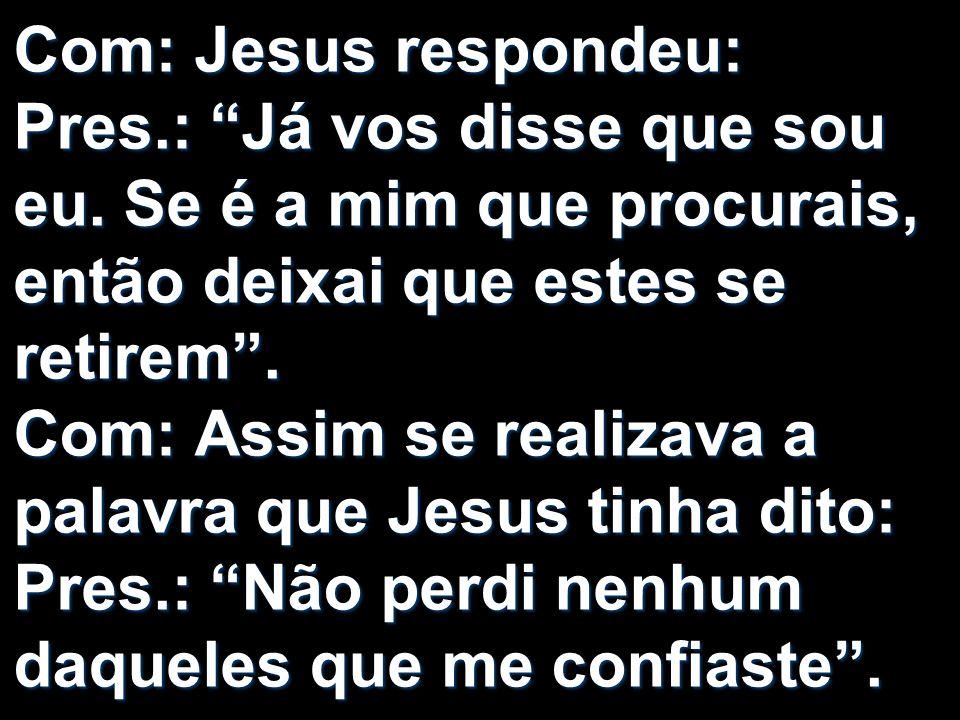 Com: Jesus respondeu: Pres. : Já vos disse que sou eu