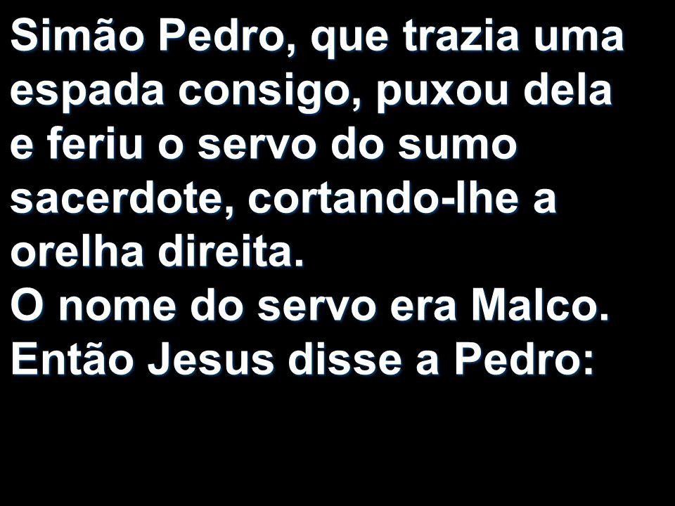 Simão Pedro, que trazia uma espada consigo, puxou dela e feriu o servo do sumo sacerdote, cortando-lhe a orelha direita.