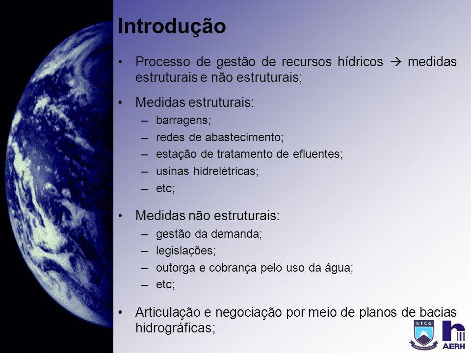 Introdução Processo de gestão de recursos hídricos  medidas estruturais e não estruturais; Medidas estruturais:
