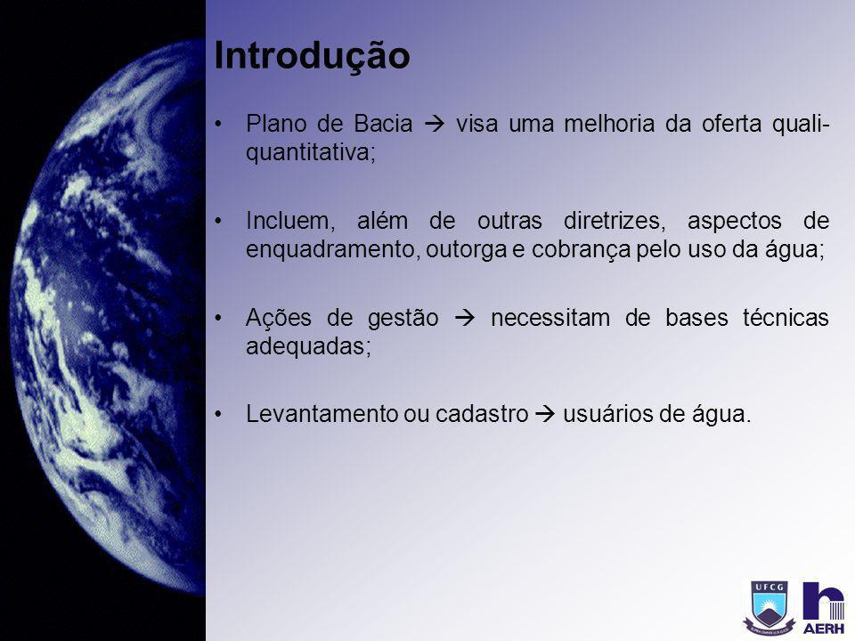 Introdução Plano de Bacia  visa uma melhoria da oferta quali-quantitativa;