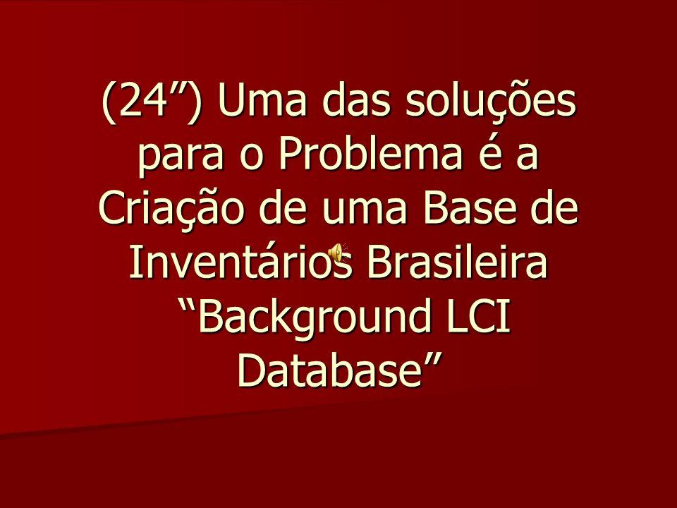 (24 ) Uma das soluções para o Problema é a Criação de uma Base de Inventários Brasileira Background LCI Database