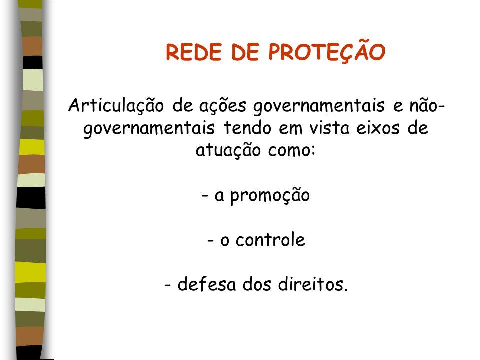 REDE DE PROTEÇÃO Articulação de ações governamentais e não-governamentais tendo em vista eixos de atuação como: