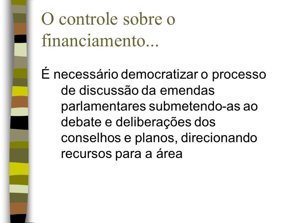 O controle sobre o financiamento...