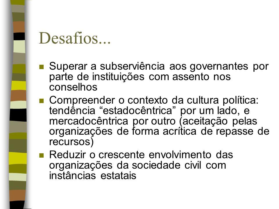 Desafios... Superar a subserviência aos governantes por parte de instituições com assento nos conselhos.