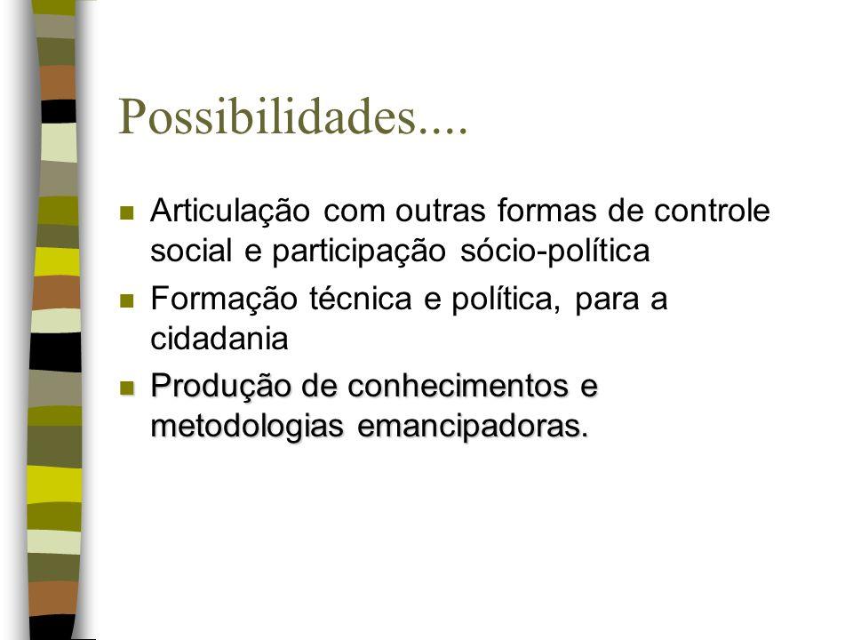 Possibilidades.... Articulação com outras formas de controle social e participação sócio-política. Formação técnica e política, para a cidadania.