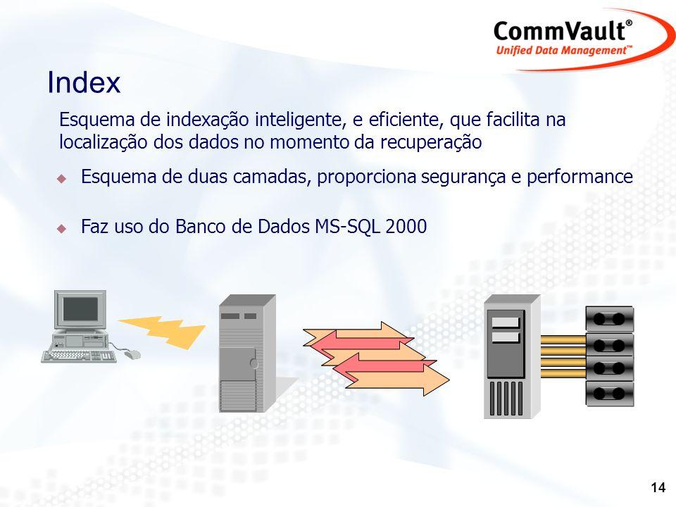 Index Esquema de indexação inteligente, e eficiente, que facilita na localização dos dados no momento da recuperação.