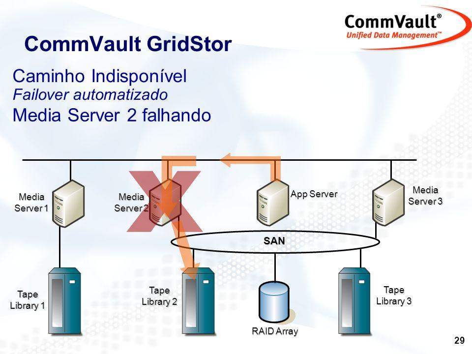 X CommVault GridStor Caminho Indisponível Media Server 2 falhando