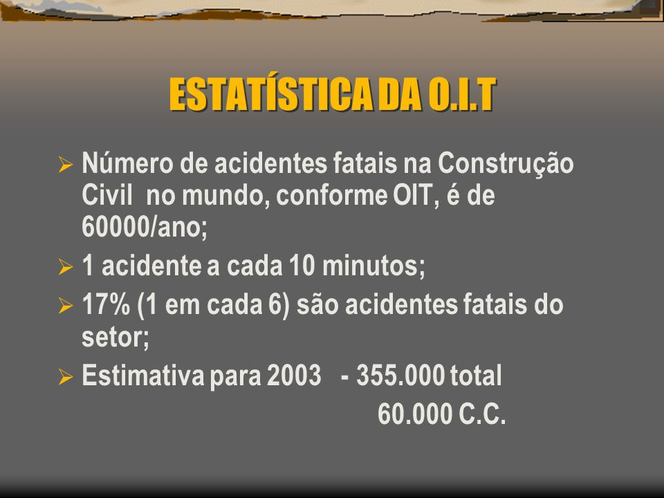 ESTATÍSTICA DA O.I.T Número de acidentes fatais na Construção Civil no mundo, conforme OIT, é de 60000/ano;