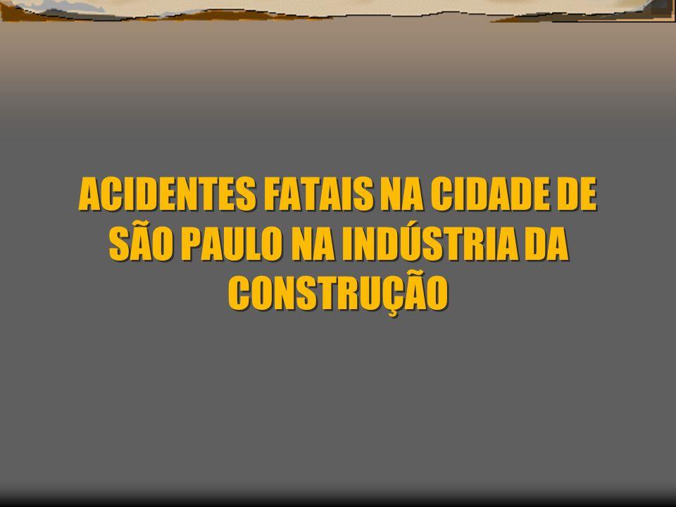 ACIDENTES FATAIS NA CIDADE DE SÃO PAULO NA INDÚSTRIA DA CONSTRUÇÃO