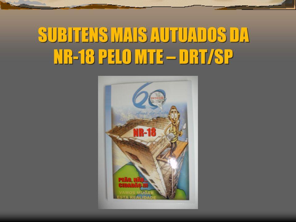SUBITENS MAIS AUTUADOS DA NR-18 PELO MTE – DRT/SP