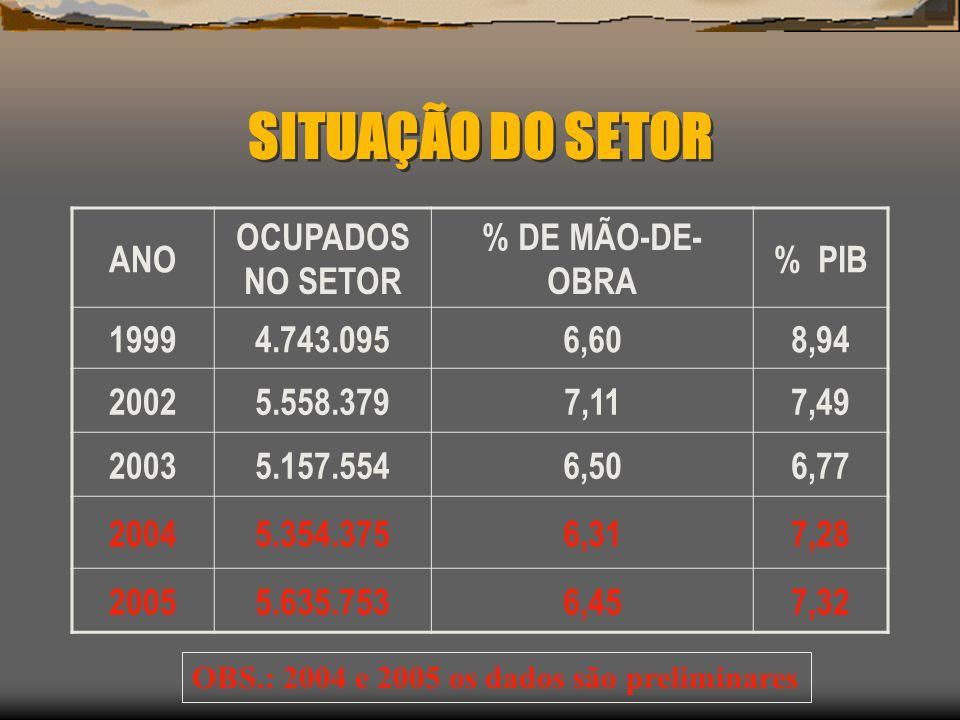 SITUAÇÃO DO SETOR ANO OCUPADOS NO SETOR % DE MÃO-DE-OBRA % PIB 1999