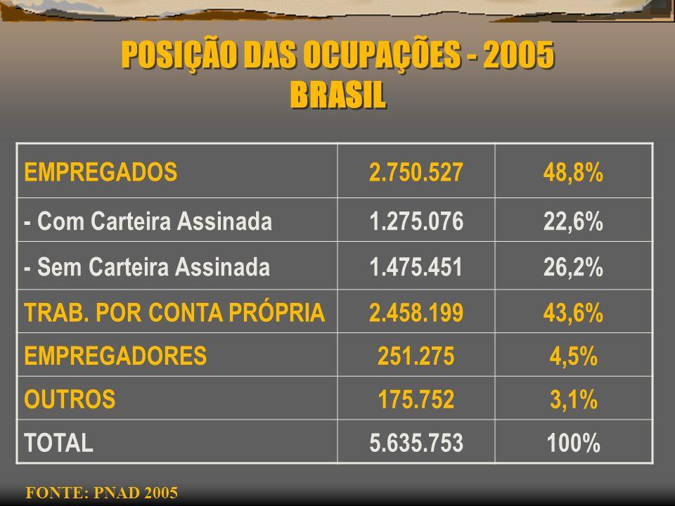 POSIÇÃO DAS OCUPAÇÕES - 2005 BRASIL