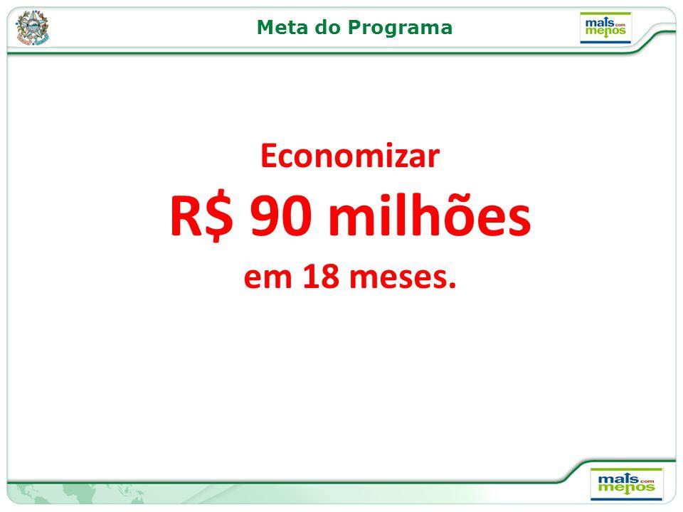 Meta do Programa Economizar R$ 90 milhões em 18 meses.