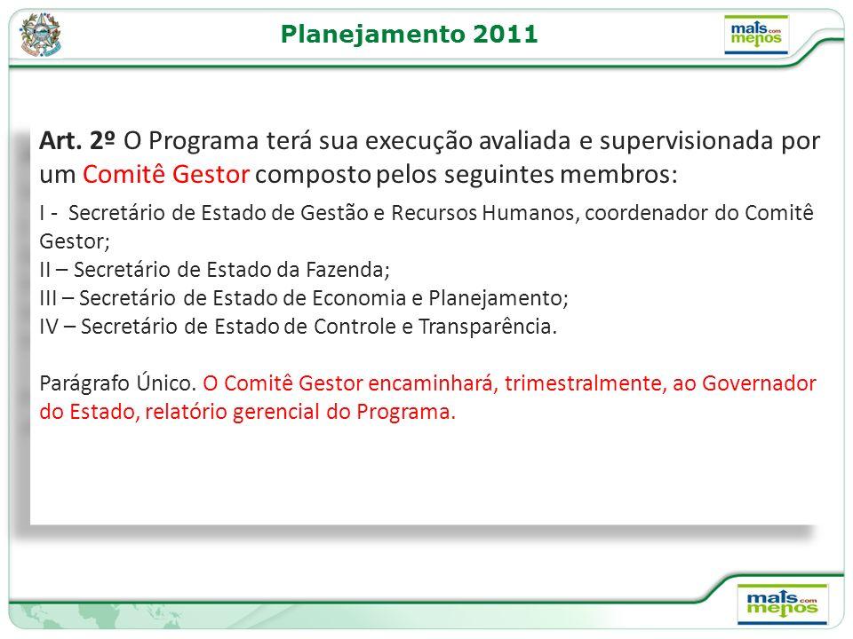 Planejamento 2011 Art. 2º O Programa terá sua execução avaliada e supervisionada por um Comitê Gestor composto pelos seguintes membros: