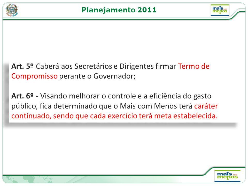 Planejamento 2011 Art. 5º Caberá aos Secretários e Dirigentes firmar Termo de Compromisso perante o Governador;