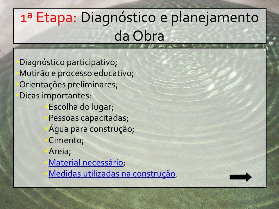 1ª Etapa: Diagnóstico e planejamento da Obra