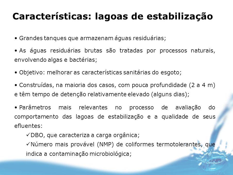 Características: lagoas de estabilização