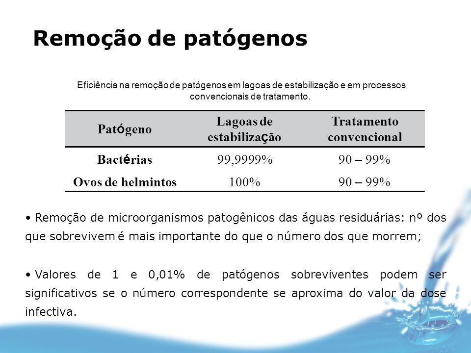 Lagoas de estabilização Tratamento convencional