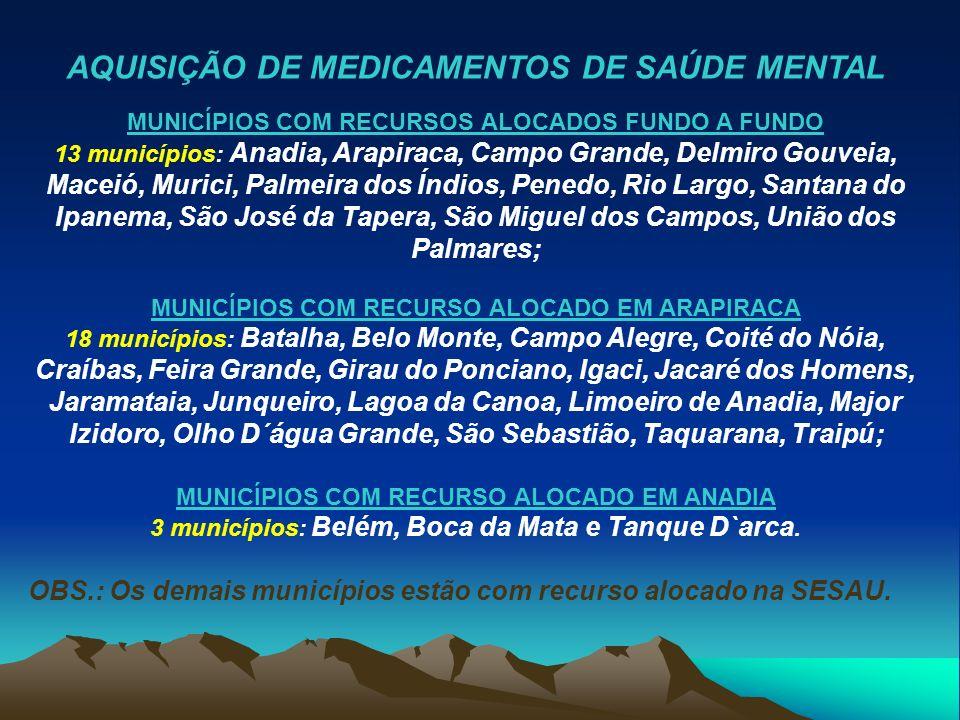 3 municípios: Belém, Boca da Mata e Tanque D`arca.