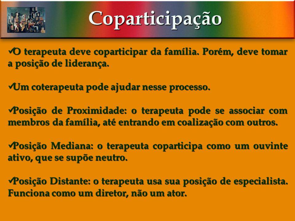 Coparticipação O terapeuta deve coparticipar da família. Porém, deve tomar a posição de liderança. Um coterapeuta pode ajudar nesse processo.