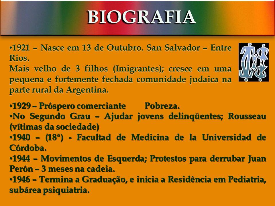 BIOGRAFIA 1921 – Nasce em 13 de Outubro. San Salvador – Entre Rios.