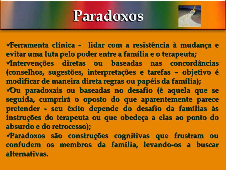 Paradoxos Ferramenta clínica - lidar com a resistência à mudança e evitar uma luta pelo poder entre a família e o terapeuta;