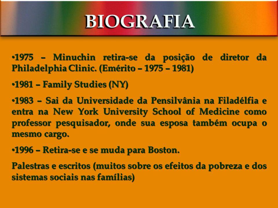 BIOGRAFIA 1975 – Minuchin retira-se da posição de diretor da Philadelphia Clinic. (Emérito – 1975 – 1981)