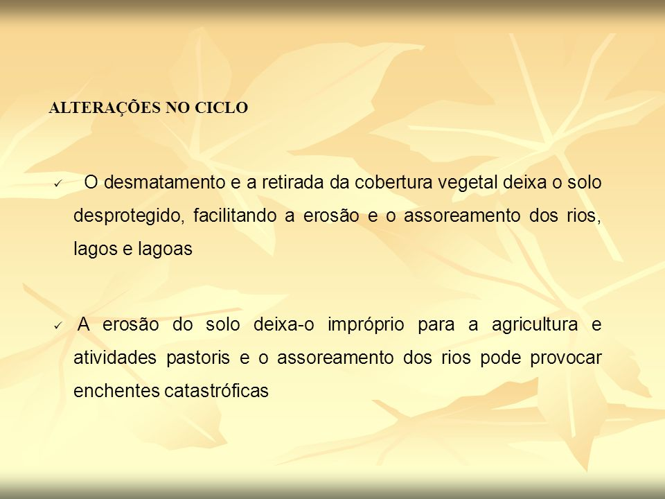 ALTERAÇÕES NO CICLO