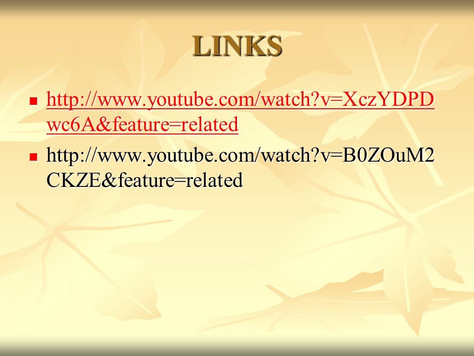 LINKS http://www.youtube.com/watch v=XczYDPDwc6A&feature=related